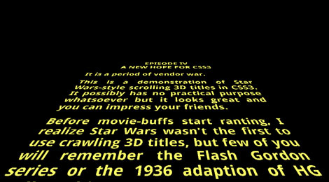 Star Wars 3D Scrolling Text in CSS3 - Stephen Marron